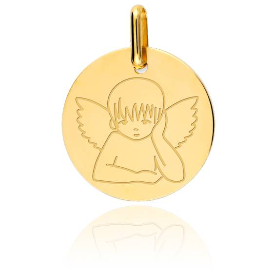 Médaille Ronde Ange Pensif Or Jaune 18K