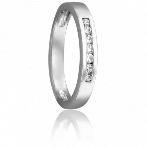 Alliance Or Blanc 18K & Diamants 0,15 ct