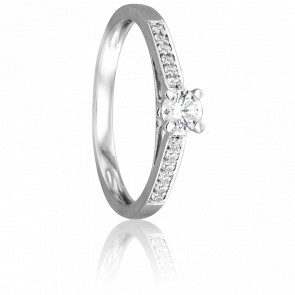Bague Solitaire Jonquière Or Blanc 18K & Diamant 0.29 ct