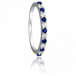 Bague Selonnet Or Blanc 18K & Saphirs et Diamants