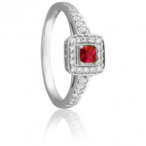 Bague Etourdie Or Blanc 18K & Rubis et Diamants