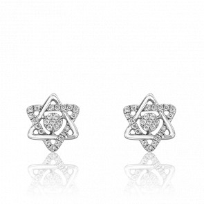 Boucles d'oreilles or blanc 18K & diamants, Etoile de David
