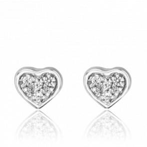 puces d'oreilles coeur, diamants et or blanc 18 carats