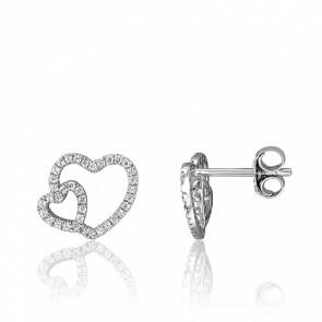 Puces d'Oreilles Coeurs de Bandol Or Blanc 18K et Diamants