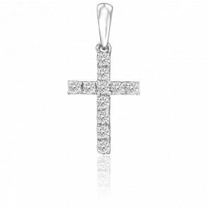 Pendentif Croix Or Blanc 18K & Diamants 0,20 ct