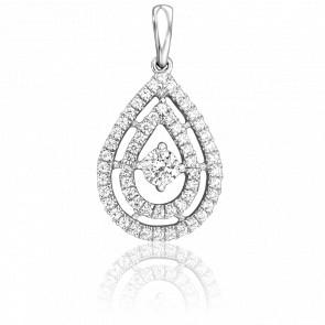 Pendentif Double Poire Or Blanc 18K & Diamants