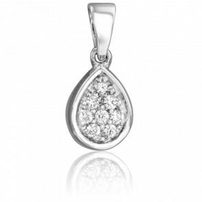 Pendentif Goutte de Tourves Or Blanc 18K & Diamants