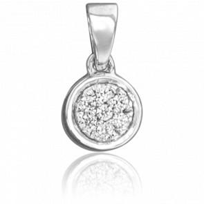 Pendentif Rond Or Blanc 18K & Diamants