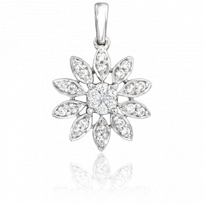 Pendentif Marguerite Or Blanc 18K & Diamants