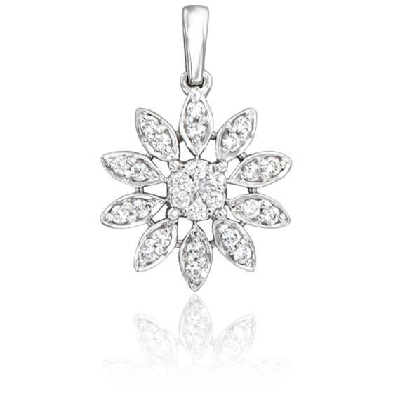 Pendentif Marguerite Or Blanc 18K & Diamants