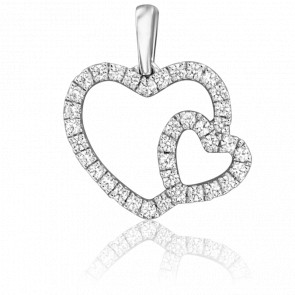 Pendentif Double Coeur Or Blanc 18K & Diamants
