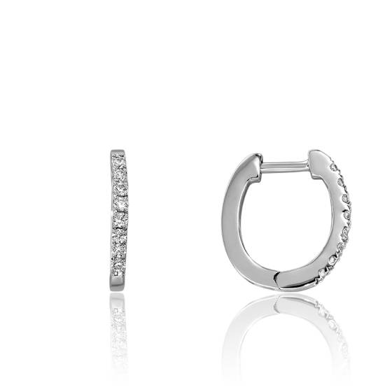 ecea13108b3b4 Créoles or blanc 18 carats et pavage de diamants 0