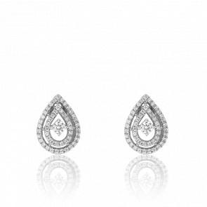 Boucles d'oreilles goutte pavée de diamants & or blanc 18 carats