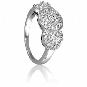 Bague 3 Fleurs Or Blanc 18K & Diamants