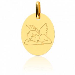 Médaille Ovale Ange Assoupi Or Jaune 18K