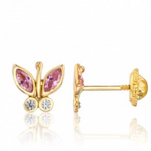 Boucles d'Oreilles Papillons Or Jaune 9K Zircons Roses & Blancs - Ocarat