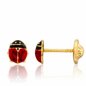 Boucles d'oreilles Coccinelles, rouge & noire, Or jaune 9K - Ocarat