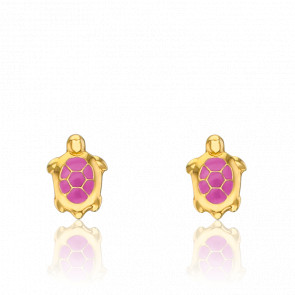 Boucles d'Oreilles Tortues Roses Or Jaune 9K