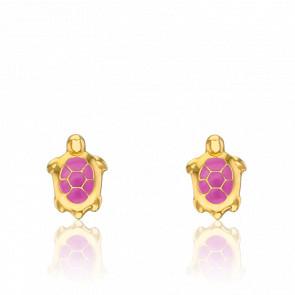 Boucles d'Oreilles Tortues Roses Or Jaune 9K