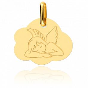 Médaille Ange Assoupi Dans Un Nuage Or Jaune 18K