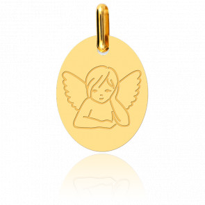 Médaille Ovale Ange Songeur Or Jaune 18K