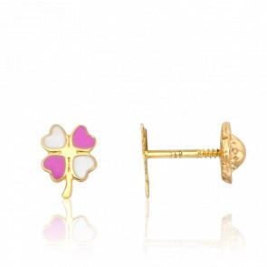 Boucles d'Oreilles Trèfles Roses & Blancs Or Jaune 9K