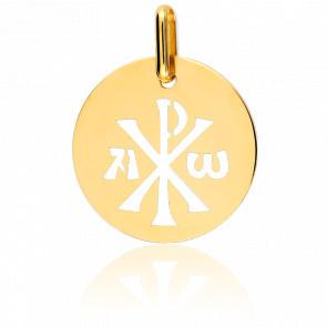 Médaille Chrisme Ajourée Or Jaune 18K
