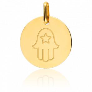 Médaille Main de Fatma et Etoile Or Jaune 18K