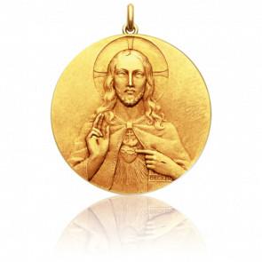 Médaille Christ Sacré Coeur Or Jaune 18K