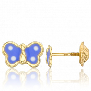 Boucles d'Oreilles Papillons Bleus Or Jaune 9K