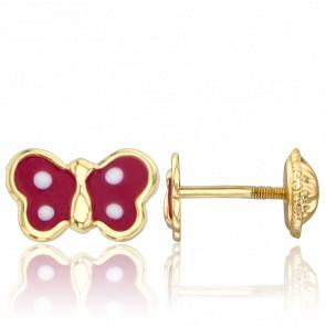 Boucles d'Oreilles Papillons Rouges Or Jaune 9K