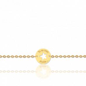 """Bracelet """"Tu Es Mon Etoile"""" Or Jaune 18K"""