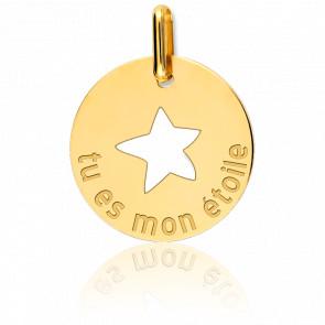 """Médaille Ajourée """"Tu Es Mon Etoile"""" Or Jaune 18K"""