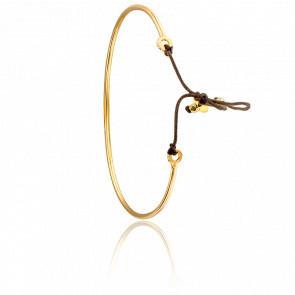 Bracelet Jonc Fin Plaqué Or & Fil Taupe