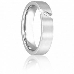 Alliance Braize en Palladium et Diamant 5,5 mm