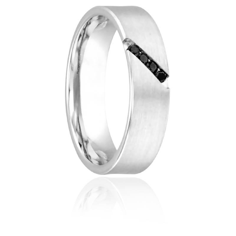 Alliance Arvan en Palladium et Diamants Noirs 5 mm