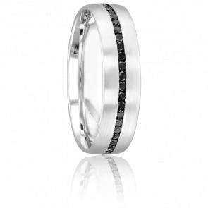 Alliance Arly en Or Blanc 18K et Diamants Noirs 6 mm