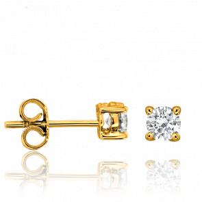 Boucles d'Oreilles Solitaire Diamants 2x 0,10 ct GVS Or Jaune 18K