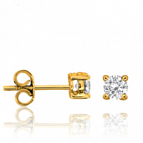 Boucles d'Oreilles Solitaire Diamants 2x 0,10 ct Or Jaune - Ocarat