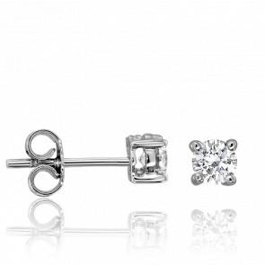 Boucles d'Oreilles Solitaire Diamants 2x 0,10 ct GVS Or Blanc 18K