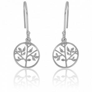 Boucles d'oreilles fantaisie arbre de vie en argent