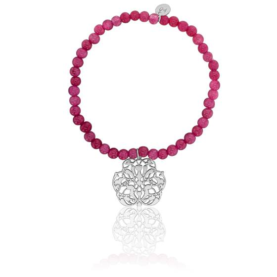 Bracelet perle serpentine, motif arabesque en plaqué argent