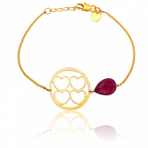 Bracelet Hara Stones Plaqué Or Jaune & Pierre Serpentine