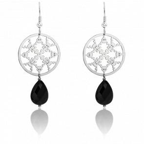 Boucles d'oreilles Hara Stones Plaqué Argent & Agate Noire