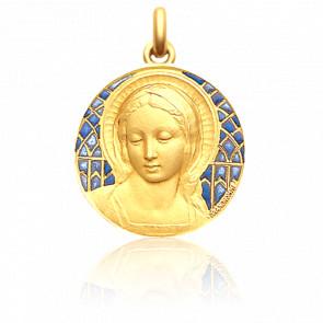 Médaille Vierge Amabilis 22 mm Email Bleu Or Jaune 18K