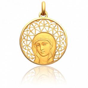 Médaille Vierge Byzantine Ajourée 27 mm Or Jaune 18K