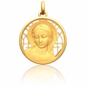 Médaille Vierge Amabilis Ajourée 3 cm Or Jaune 18K