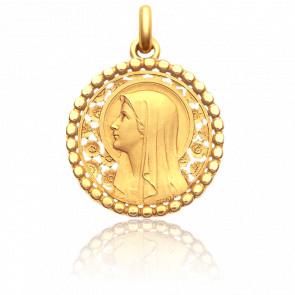 Médaille Vierge à l'Eglantier Perlée 22 mm Or Jaune 18K