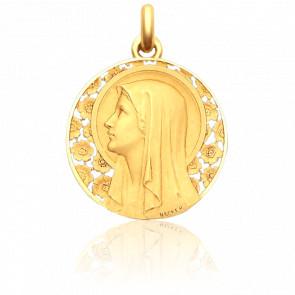 Médaille Vierge à l'Eglantier 28 mm Or Jaune 18K
