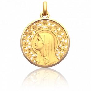 Médaille Vierge à l'Eglantier, 30 mm, Or Jaune 18K